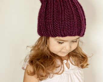 Keaton Hat Knitting Pattern Ribbed Slouchy Reversible Baby-Adult Sizes PDF
