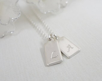 Tiny Initial Tag Necklace - Sterling Silver Custom Jewelry - Personalized Hand Stamped Necklace