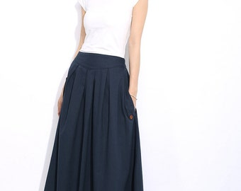 Linen skirt Vintage pleated skirt C318