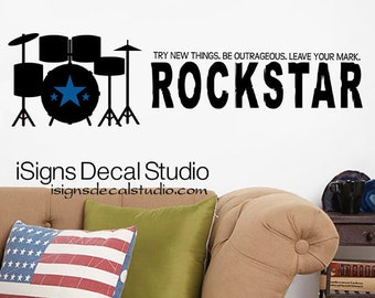 MUSIC Wall Decal - Drums Wall Decal - Rockstar Decal - Vinyl Wall Decal Music