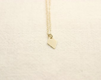 Gold filled necklace with tiny diamond shaped charm / Sterling Silver necklace with tiny diamond charm / Minimal necklace /Layering necklace