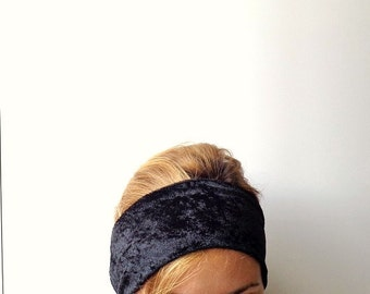black velour no slip headband jersey headwrap stretch Swinging Sixties hair style women's wide head band bardot ear warmer hair band 60s
