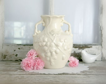 Vintage Ironstone Vase with double handles and embossed flowers cream urn cottage shabby chic pink flowers