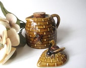 Vintage Honey Pot  Pitcher Corked With Lid Beehive With Raised Bee Design