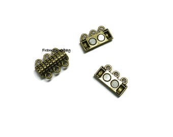 4 Zamak magnetic clasp Antique Golden for Beads 3X2mm-Zk502