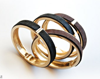 Fur bangle - Gold & brown/black