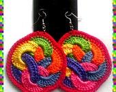 Rainbow Fruit Loops Crochet Earrings (Red Lining)