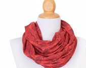 Women Infinity Scarf - Lightweight red autumn circle scarf for modern women