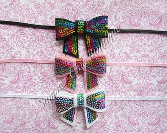 SALE- Set of 3- Baby Headband, Infant Headband, Toddler Headband, Rainbow Sequin Bow Headband on skinny elastic