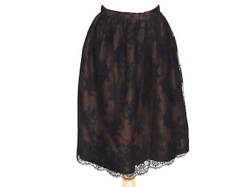vintage 50s black lace tea length skirt