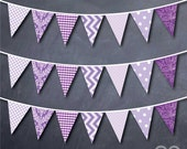 Purple Themed Triangle Bunting Banner Decoration Printable