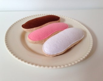 Felt Pretend Play Food Iced Bun - Pink / White or Chocolate
