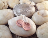 Domed Copper Hand-Stamped Name Charm Necklace