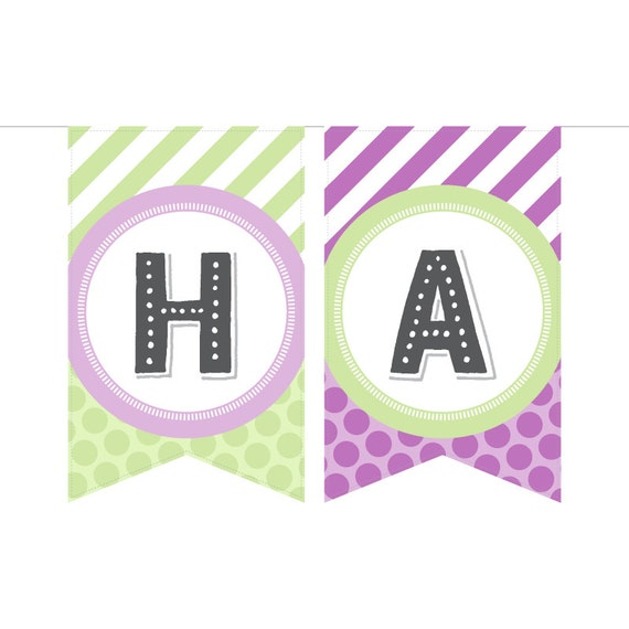 Items Similar To Printable Birthday Banner In Pale Purple