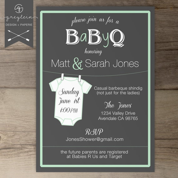 baby shower invitation onesie guy friendly co ed bbq baby shower