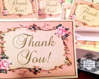French royal Thank you cards | elegant thank you notes | pink and gold note cards | Marie Antoinette note cards.