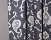 2 panels 50 x 108 charcoal ikat with matte silver grommets