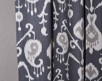 Ikat Curtains - Charcoal Gray Curtains - 2 Curtain Panels - Grey Curtains - Grommet Curtains - Home Decor - Farmhouse Decor - FREE SHIPPING