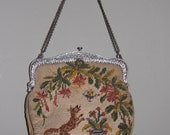 Whimsical 1925 Tapestry Purse with Antique Frame-Dog and Bird Motif