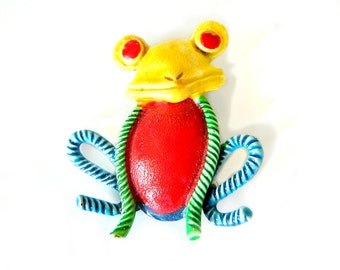 Hollycraft Happy Frog Pin Vintage Enamel Figural Brooch  Whimsical Collectible Jewelry Signed Beauty Bright Yellow Red Green Blue