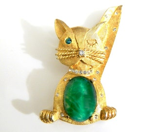 Weiss Winking Cat Brooch Whimsical Kitty Green Vintage Jelly Belly Rhinestone Cat Lover Collectible Jewelry Pin For Women Mid Century