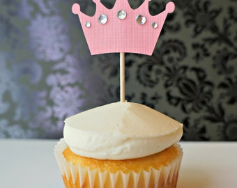 Jeweled Crown Cupcake topper / pick decoration (12)