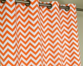 Tennessee Orange White Chevron Zig Zag Curtains - Grommet - 84 96 108 or 120 Long by 25 or 50 Wide - Optional Blackout or Cotton Lining
