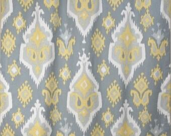 saffron pale yellow gray premier ikat curtains rod pocket 84 96 108 or 120
