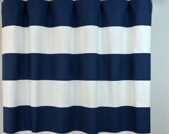 Navy Blue White Cabana Horizontal Stripe Curtains - Rod Pocket - 84 96 108 or 120 Long by 24 or 50 Wide - Optional Blackout or Cotton Lining