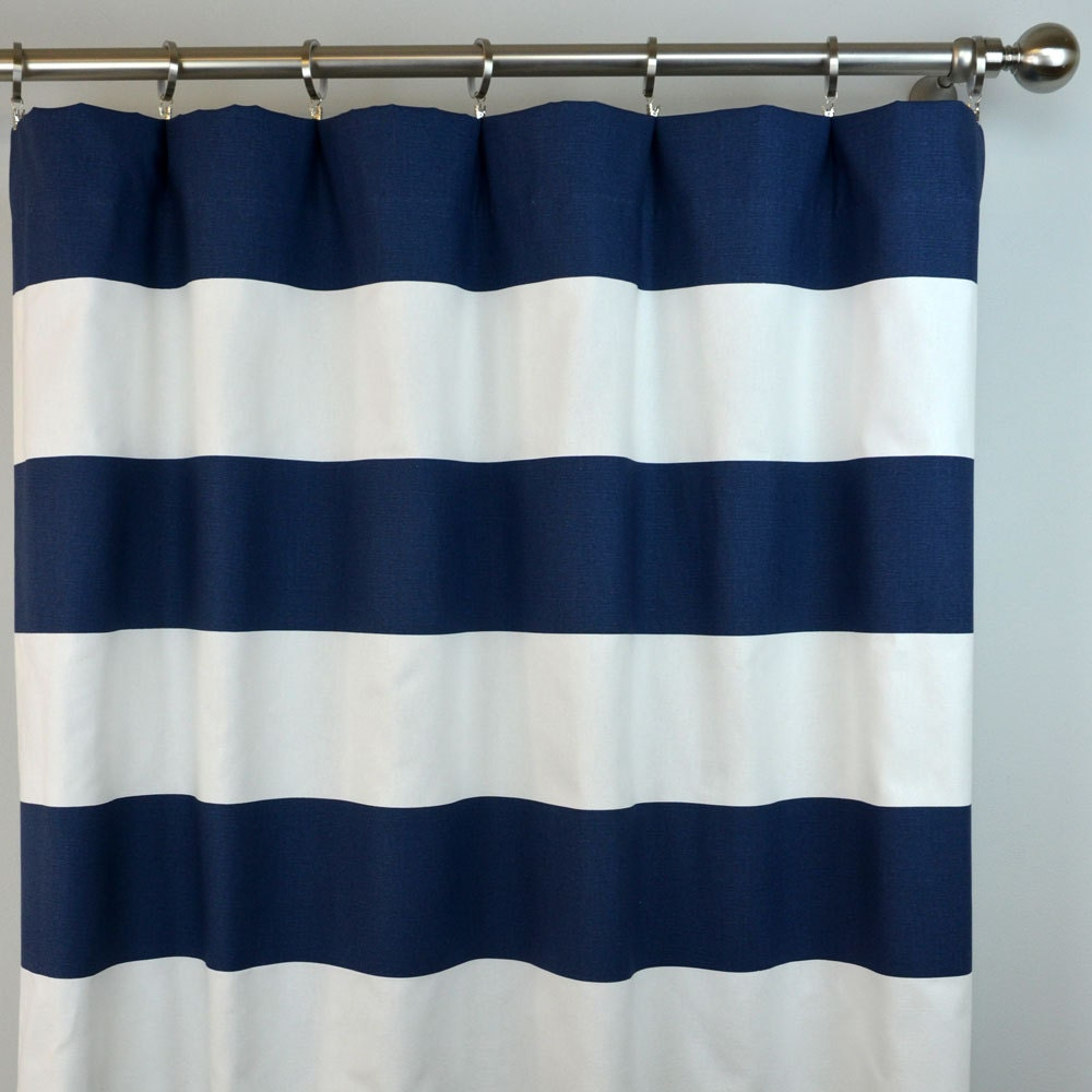 Navy Blue White Cabana Horizontal Stripe Curtains Rod Pocket