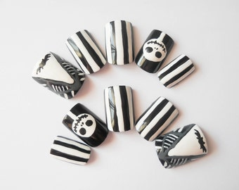Nightmare Before Christmas Nails, Fake Nails, False Nails, Acrylic Nails, Press on, Nails, Goth, Nail Art, Halloween