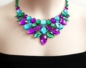 rhinestone bib necklace, wedding, bridesmaids, prom, party statement necklace gift or for you NEW