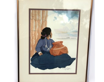 Framed Watercolor Painting INDiAN POTTER by MARY LEFFLER San Diego California Artist Woman Clay Pot South North American Native Indian