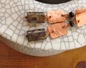 Copper Gemstone Earrings/Hammered Copper Earrings w/Stone/Birthstone Earrings/Jasper & Black Tourmaline Earrings/Hand-made Earrings w/Stone
