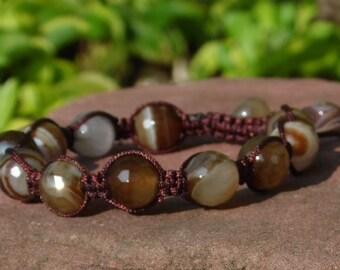Brown Sardonyx Agate Shamballa Bracelet