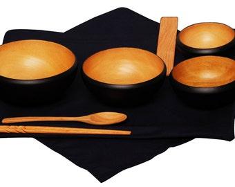 Mango Wood Soto Oryoki Bowl Set