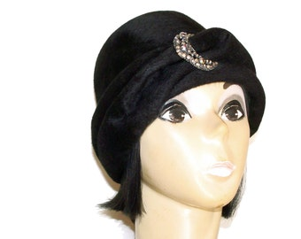 60's Rhinestone Buckle Hat Fur Felt Turban