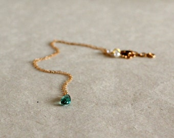Emerald Teardrop Necklace-May Birthstone Pendant-Emerald Pendant Necklace-Flower Girl Pendant-Gifts for Girl-Gifts for Kids-Gifts Under 40