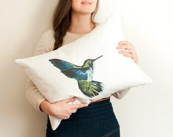 HUMMINGBIRD pillow cover on white cotton