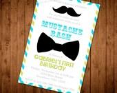 Bright Chevron Mustache Bash Birthday Invitation. First Birthday. Kid's Birthday Invitation. Boy Birthday Invitation. Bow Tie Birthday.