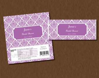 Candy Bar WRAPPERS - Instant Download - Purple Damask Printable Personalized Bridal Baby Shower Birthday Party Favors