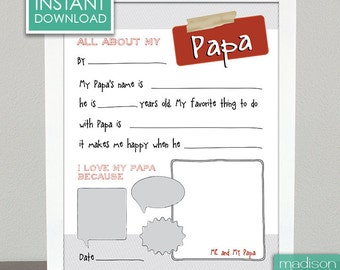 ALL ABOUT PAPA - Fathers Day - Fill In, Printable // Instant Download