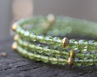 Olive Green Czech Beads and Gold Memory Wire Bracelet