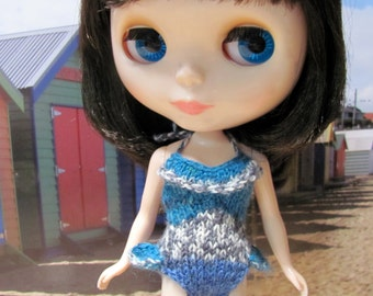 Blue and Frilly SwimSuit - Bathers hand knitted for your BlytheStar