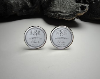 Grey Personalized Brother of the Bride Cuff Links Father of the Bride Cuff Links Wedding CuffLinks Wedding Party Gifts/ Gift for Dad