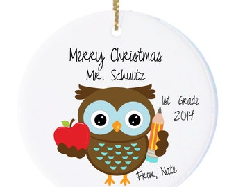 Personalized Christmas Ornaments Teacher Ornament with Cute Teacher Owl