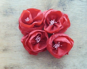 Valentines Day Red Bridesmaid Hair Accessories Large Red Flower Hair Clip Wedding Hair Accessories RED WEDDING Bridal Flowers
