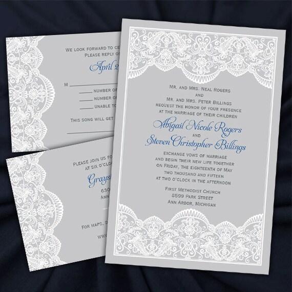 Custom Elegant Lace Wedding Invitations