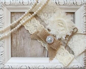 CUSTOMIZE IT! Garter Set - Wedding Garter Set, Bridal Garter Set, Lace Garter  Bridal Garter, Rustic Wedding Garter Set, Something Blue