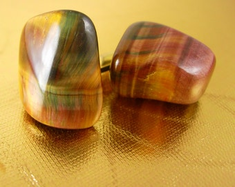 STUNNING Tiger Eye Cufflinks Vintage Gold plated Gemstone Large Pat 2472958 mens one of a kind GIFT cuff links